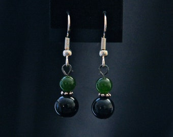 Simple Green and Black Drop Earrings
