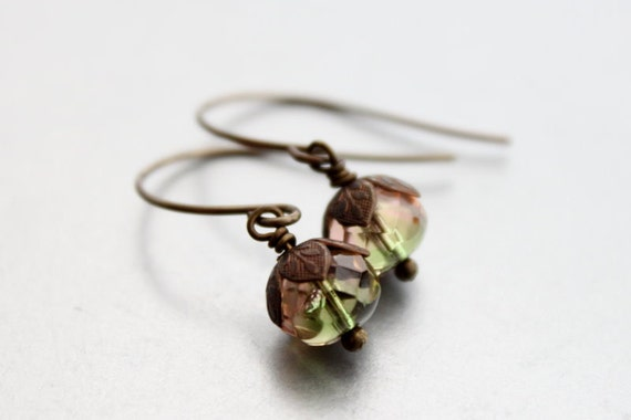 Brass Dangle Earrings - Autumn Drop Earrings, Clearance Sale, Czech Glass and Brass Earrings, Leaf Leaves, Woodland, Gift Under 20