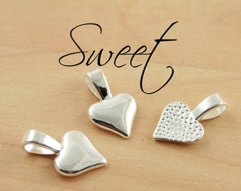 25 Heart Shaped Glue on Bails - Silver Plated -  for Pendant Making