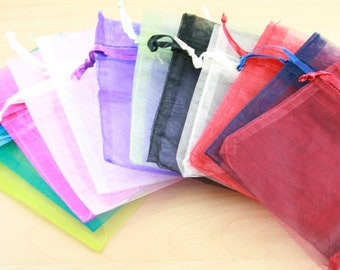 150 Organza Bags. Small 6x9cm save - assorted colors shown , 2.5-3X4 size, satin drawstring.Sizes can vary.