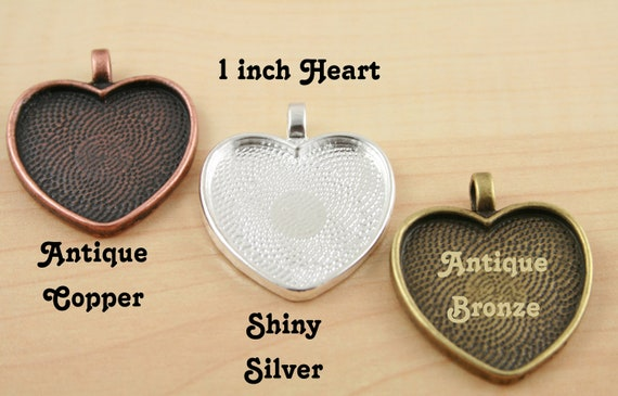 20 Blank 1 inch Heart Pendant Trays -  Heart  Shiny Silver Plated or Antique Bronze or Antique Copper Bezels Settings 25 mm Photos Charms