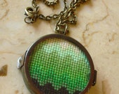 Green Ombre Cross Stitch Necklace