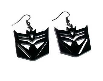 Deceptacon Earrings, Transformers, Black Laser Cut Acrylic