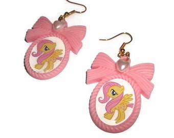 Fluttershy Earrings, Kawaii Pink Cameo My Little Pony Dangle Earrings