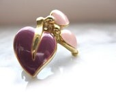 Heart Brooch Pin Orchid with Pink Leaves with Faux Gold Petite Jewelry Fashion