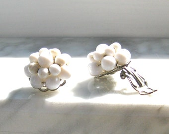 White Beaded Earrings Clip on Cluster Beads Stamped Japan Wired Wedding Bridal Mid Century Fashion Jewellery
