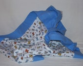 "33"" x 33"" Baby Receiving Blanket in Flannel with Little Dogs in Yellow, Orange and Blue on White with Blue Back and 2"" Border"