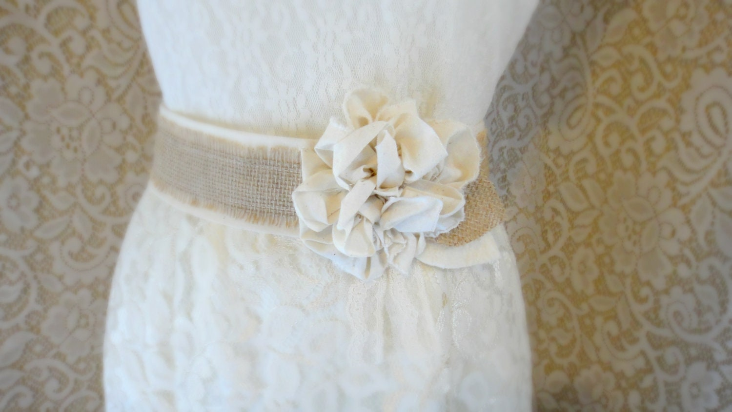 Burlap wedding sash rustic southern barn wedding bridesmaid for Wedding dress belt sash