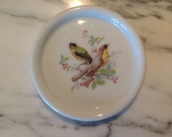 Vintage Ceramic Bird Coasters in Brass Holder