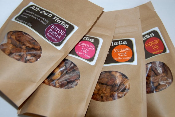 SWEET & SAVORY PARTY Sampler, 4-pack all natural roasted nuts