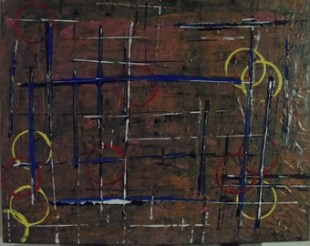 Gridlock 16x20 Mixed Media Abstract Expressionist Original Art Painting