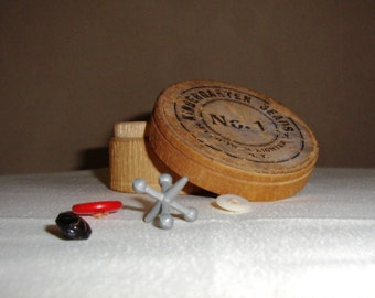 Vintage Round Wooden Box Selchow & Righter NY Kindergarten Beads Container Trinket Wedding Ring Box