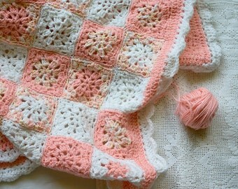 Crochet Baby Blanket- Granny Square - Peach Pink, White-  Made To Order- Crocheted Baby Afghan
