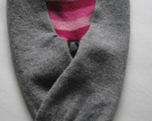 Upcycled Merino Wool Baby Longies - Grey with Pink Stripes - Size Extra Small - 0 -3 Months
