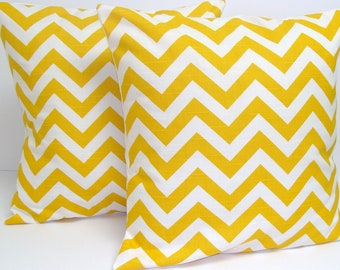 YELLOW CHEVRON PILLOWS. Set of Two.20x20 inch.Pillow Covers.Decorative Pillow Covers.Housewares.Yellow.Chevron.ZigZag.Yellow  Cushions.cm