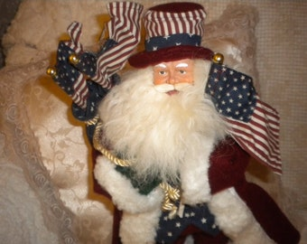 Folk Americana Santa,Primitive,Country,Eclectic,Holiday,Collectible