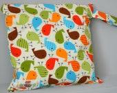 Large Wet Bag - waterproof, bermuda birds, modern, bright, fun, orange