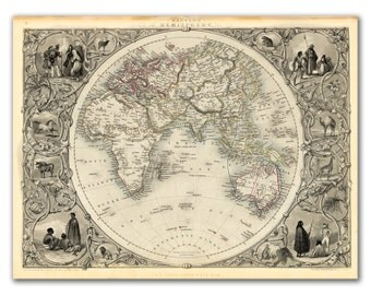 """13x17"""" Antique World Map printed on parchment paper, Eastern Hemisphere 1851  , Vintage map, Europe"""