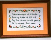 Norwegian Table Prayer Framed Cross Stitched