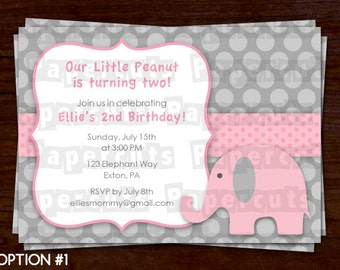 Elephant Theme Birthday Party Invitation | Pink & Grey | Personalized | Printable DIY Digital File