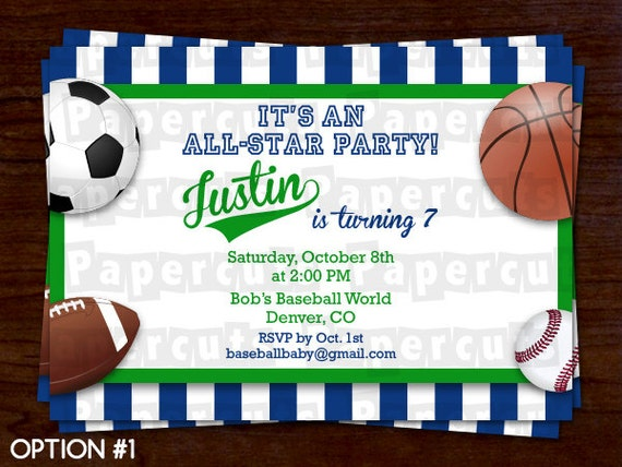 All Star Sports Theme Birthday Party Invitation – Sports Birthday Party Invitation