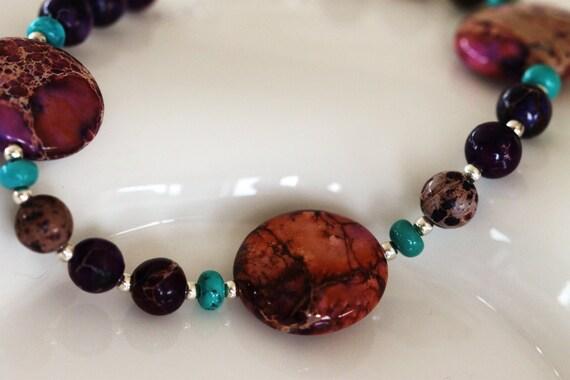 aqua terra jasper, turquoise and sterling silver bracelet / handmade by girl three