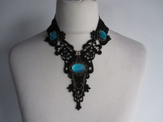Lace Necklace Turquoise Victorian Gothic Burlesque Bohemian Hippie