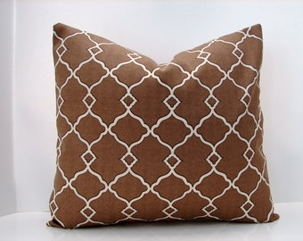 """New 16"""" X  16"""" brown, natural Fretwork print pillow cover  outdoor/indoor designer fabric - decorative pillow cover-accent pillow"""