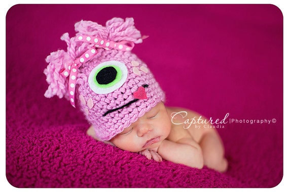Baby Girl Hat READY To Ship Pink MONSTER Newborn Baby Girl Crochet Hat  RTS Free Shipping