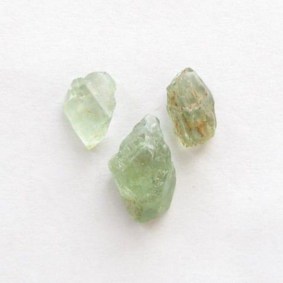 Natural Green Beryl, Africa, Unheated, Rough (Uncut) , Lot (3) of 15.02 carats