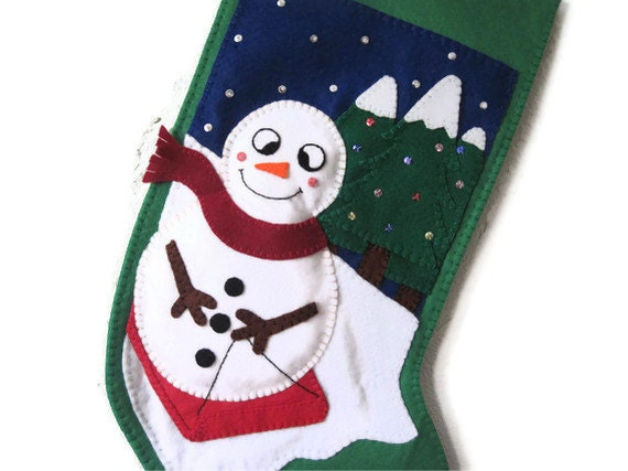 Personalised Christmas Stocking, Custom Felt Snowman, Made to Order