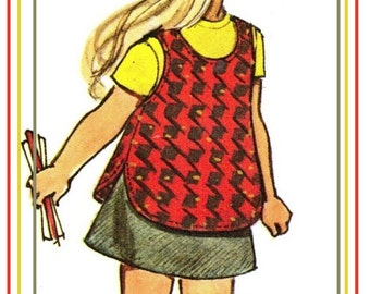 """Simplicity 5165 Vintage UNCUT 70s Toddlers' JUMPER or Tunic and Pants and Skirt Sewing Pattern """"Jiffy Pattern"""" Size 2 B21"""