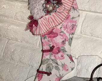 Victorian Christmas Stocking, 2 sided, Beaded, Vintage, Striking Upcycled Christmas Jonne Brooch