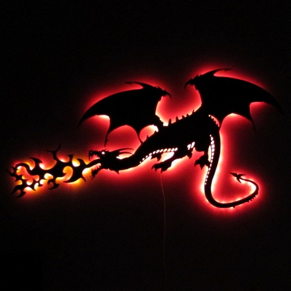 Fire Breathing Dragon LED Lighted Wall Art