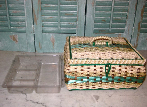 """Vintage 60's  Green Woven Sewing Basket  Made in Japan  9 1/2"""" x 8""""  - 5 1/2"""" tall"""