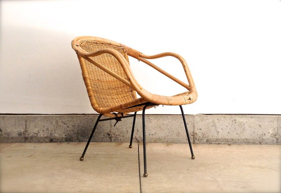 Mid Century Rattan Chair - Vintage Furniture -  Arthur Umanoff Style