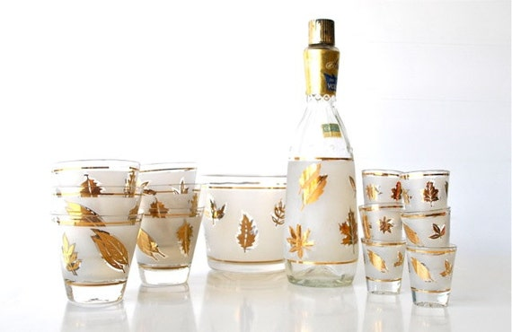 Frosted Gold Leaf Mid Century Bar Glass Set