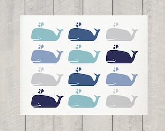 Whale Art -  Nursery - Bathroom