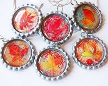 Leaf Wine Charms, Leaf charms, Wine Charms, Bottlecap wine charm, Leaves, fall, Autumn, Thanksgiving