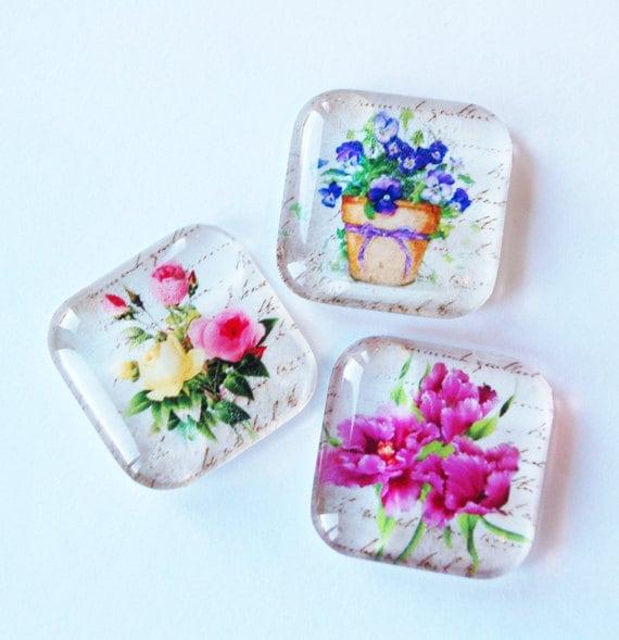Flower Magnets, Glass magnets, Fridge Magnets, Flowers, kitchen magnets, Flower glass magnets