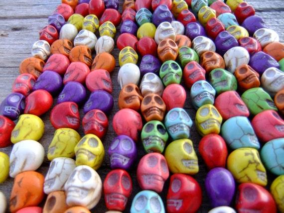1/2 Strand of 10x10mm Multi Color Skull Beads