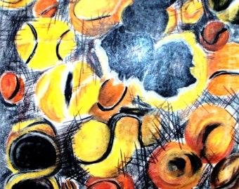 Tennis ball artwork print, chalk drawing of Tennis balls, hand drawn original, orange yellow and grey black colors