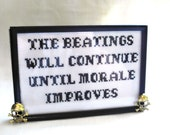 The Beatings Will Continue Pirate Cross Stitch Sampler