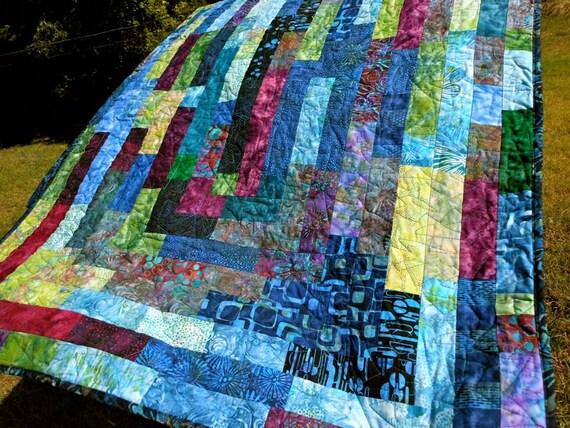 """Cool Blue Hawaii Batik Lap Quilt. 36"""" X 78 """""""