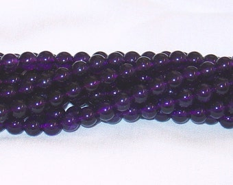 "Amethyst 6mm Round Smooth Gemstone Bead - 15.5"" Strand AAA"