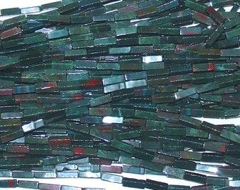"Bloodstone 4x13mm Rectangle Tube Gemstone Beads - 16"" Strand"