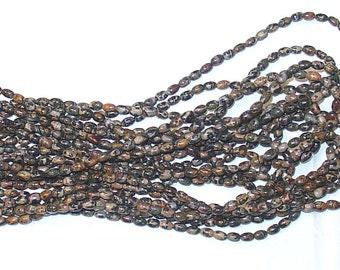 "Leopard Skin Jasper 4x6mm Rice Oval Gemstone Beads - 15.5"" Strand"