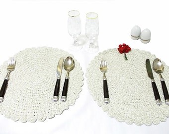 For private luncheons... Crochet hot pad table mat / placemat... Romantic placemat- Unique dinner