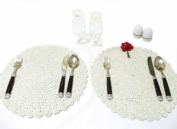 For private luncheons... Crochet hot pad table mat / placemat... Romantic placemat- Unique dinner