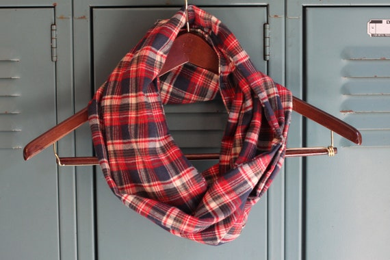 Navy & Red Plaid Flannel Infinity Scarf
